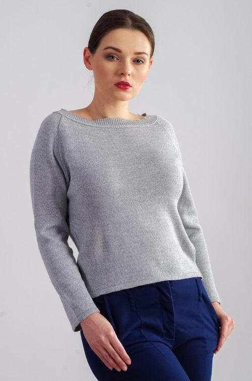 Sweter basic krótki popielaty