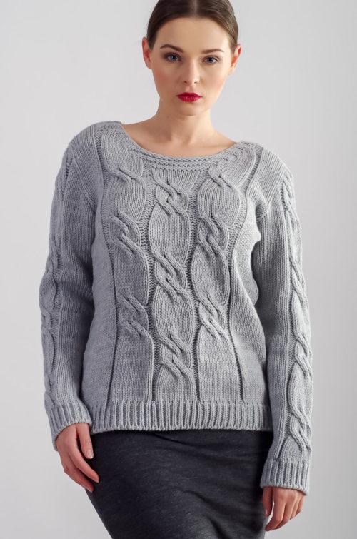 beeanddonkey sweter w warkocze - szary