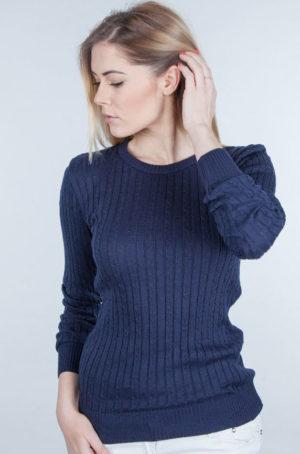 Sweter w drobne warkocze granatowy