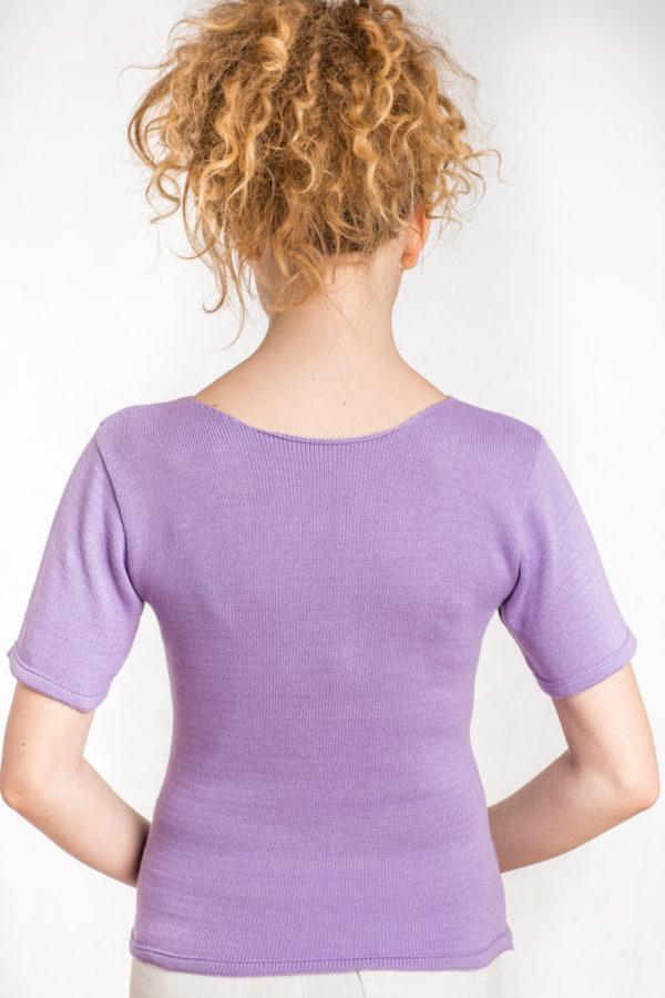 Bawełniana bluzka z krótkim rękawem fiolet