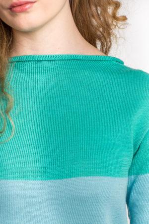 Sweter w pasy - niebieski/morski