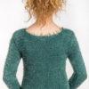 Włochaty sweter taliowany zielony