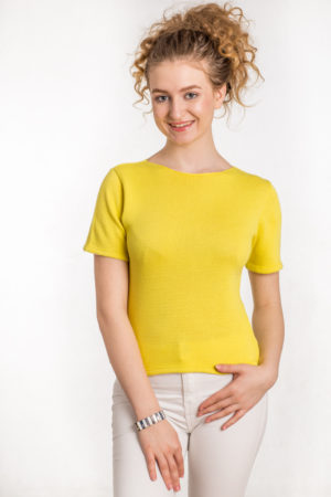 Bawełniana bluzka z krótkim rękawem żółta