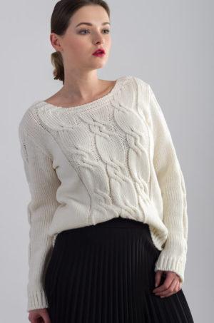 Sweter w warkocze - ecru