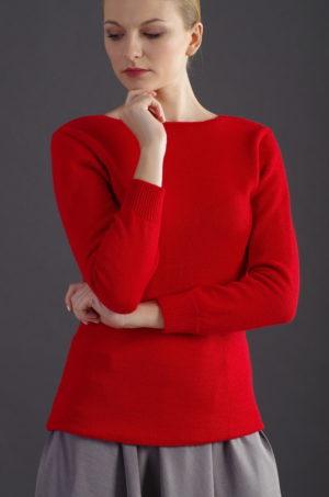 Sweter z dekoltem na plecach - czerwony