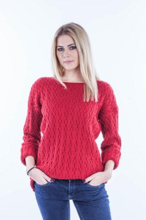 Sweter wzorzysty czerwony