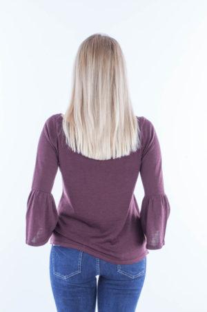Bluzka z rozszerzanymi rękawami bordo