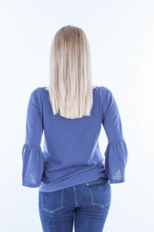 Bluzka z rozszerzanymi rękawami jeans