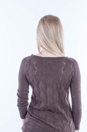 Sweter z wzorem na plecach brązowy