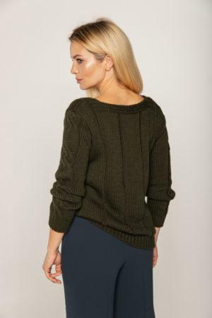 sweter khaki grube warkocze welniany