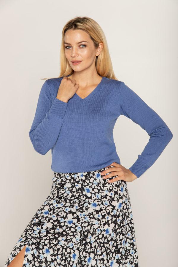 sweter beeanddonkey welna merino kolor niebieski