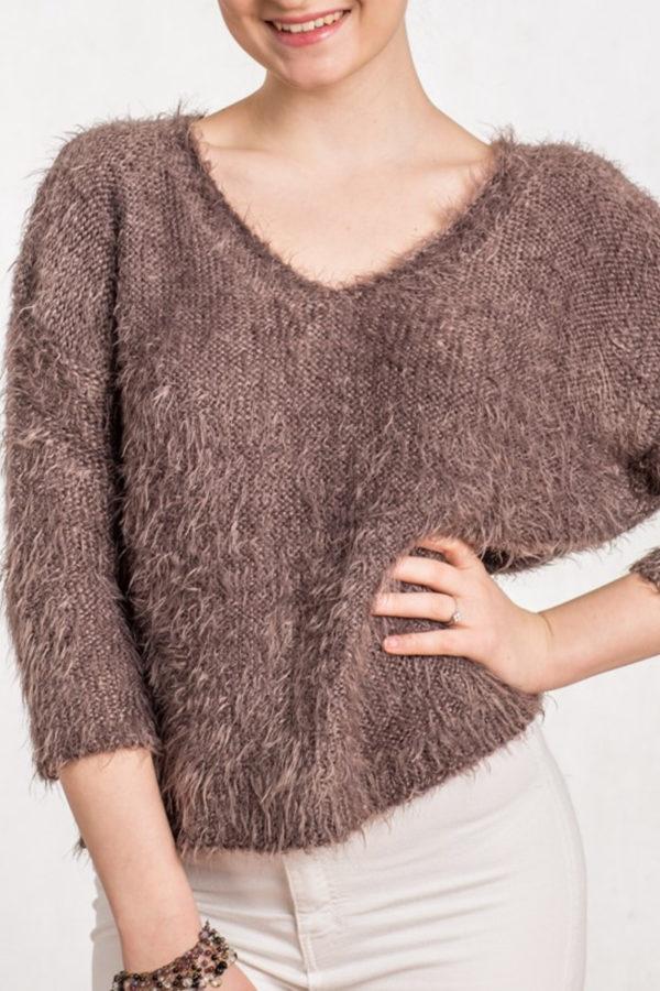 sweter beeanddonkey brązowy