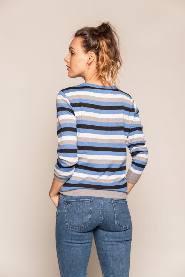 sweter w pasy bee and donkey sweter niebieski