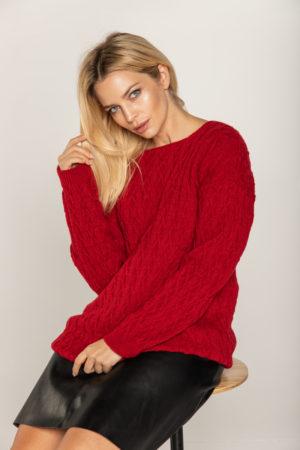 beeanddonkey sweter czerwony wzorzysty