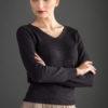 Sweter z dekoltem w serek - grafitowy