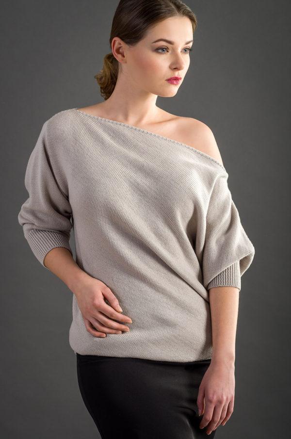 sweter asymetryczny bezowy beeanddonkey asymetria