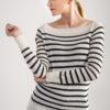 sweter w paski czarne białe bee and donkey knitwear