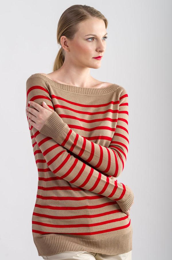 Sweter w paski beżowo - czerwony
