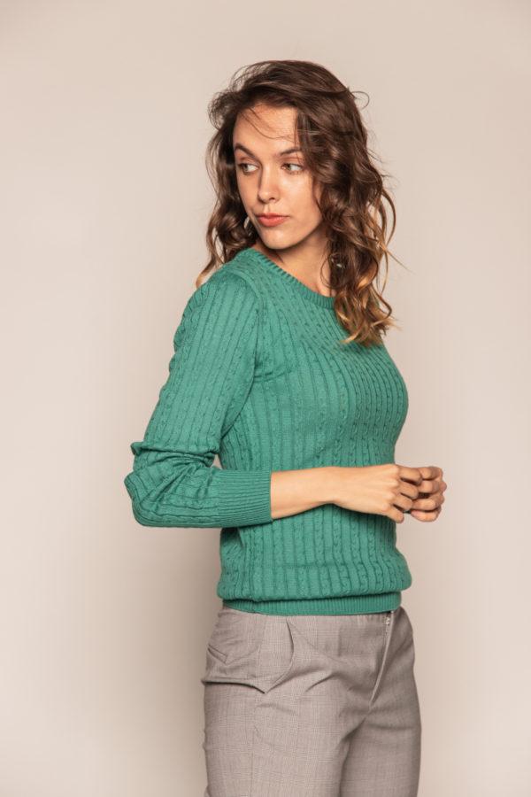 sweter bee and donkey zielony sweter w drobne warkocze