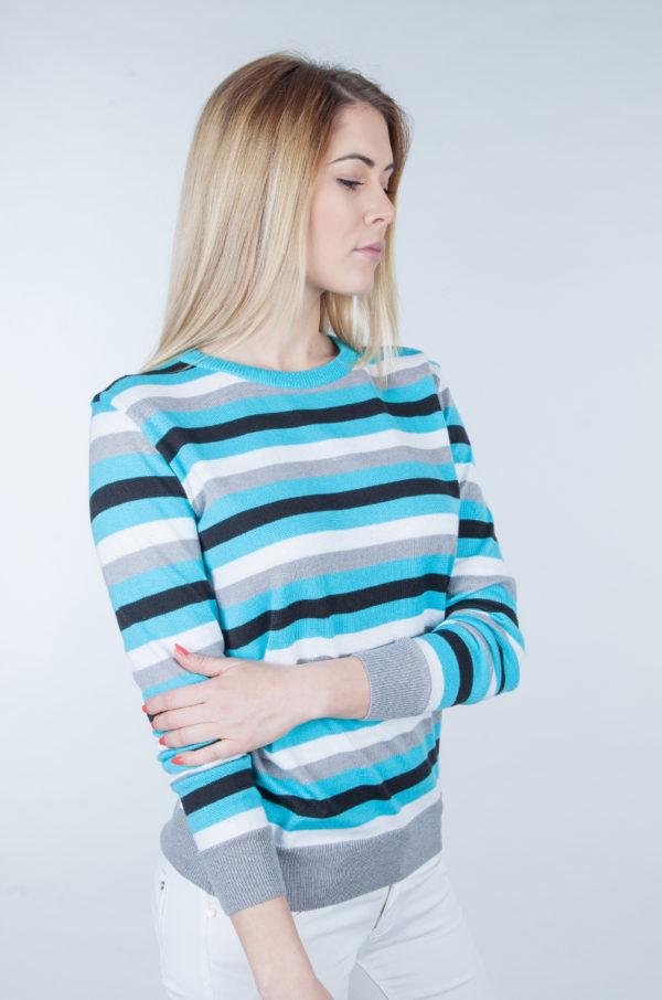 Sweter w pasy turkus