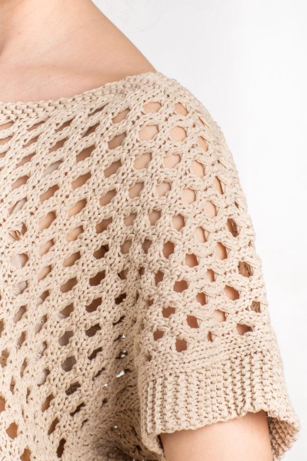 Bluzka – siatka z krótkim rękawem beż