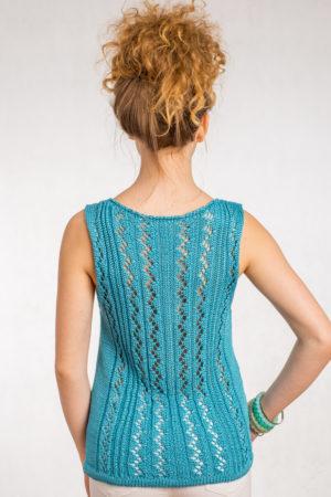 Ażurowa bluzka na ramiączkach turkus