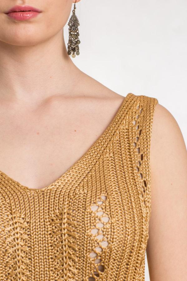 Ażurowa bluzka na ramiączkach złoty