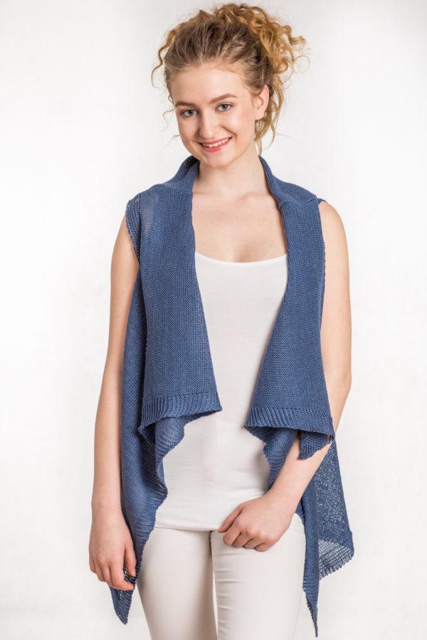 kamizelka siatka niebieska bee and donkey knitwear dzianina