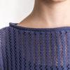 Ażurowy sweter z długim rękawem granat