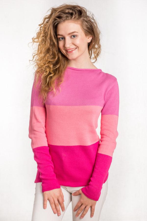 sweter różowy pasy bee and donkey róż