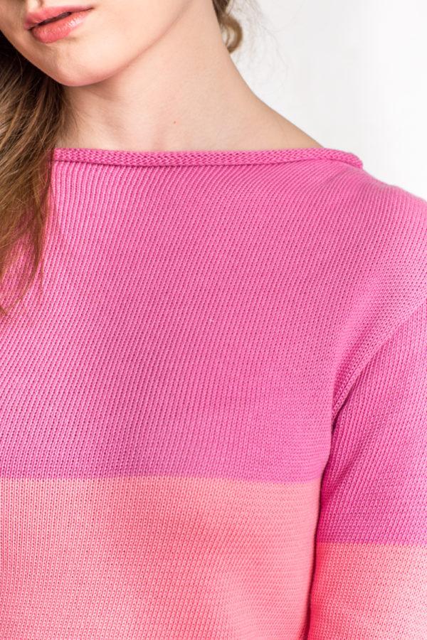 Sweter w pasy - róż/łosoś
