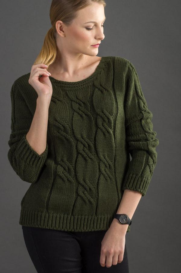 Sweter w warkocze - khaki