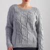 Sweter w warkocze - szary