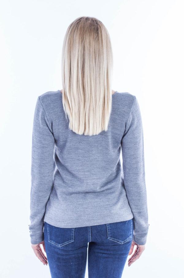 Sweter w serek z guziczkami popielaty
