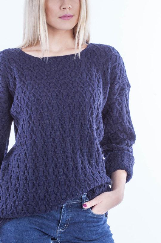 Sweter wzorzysty granat