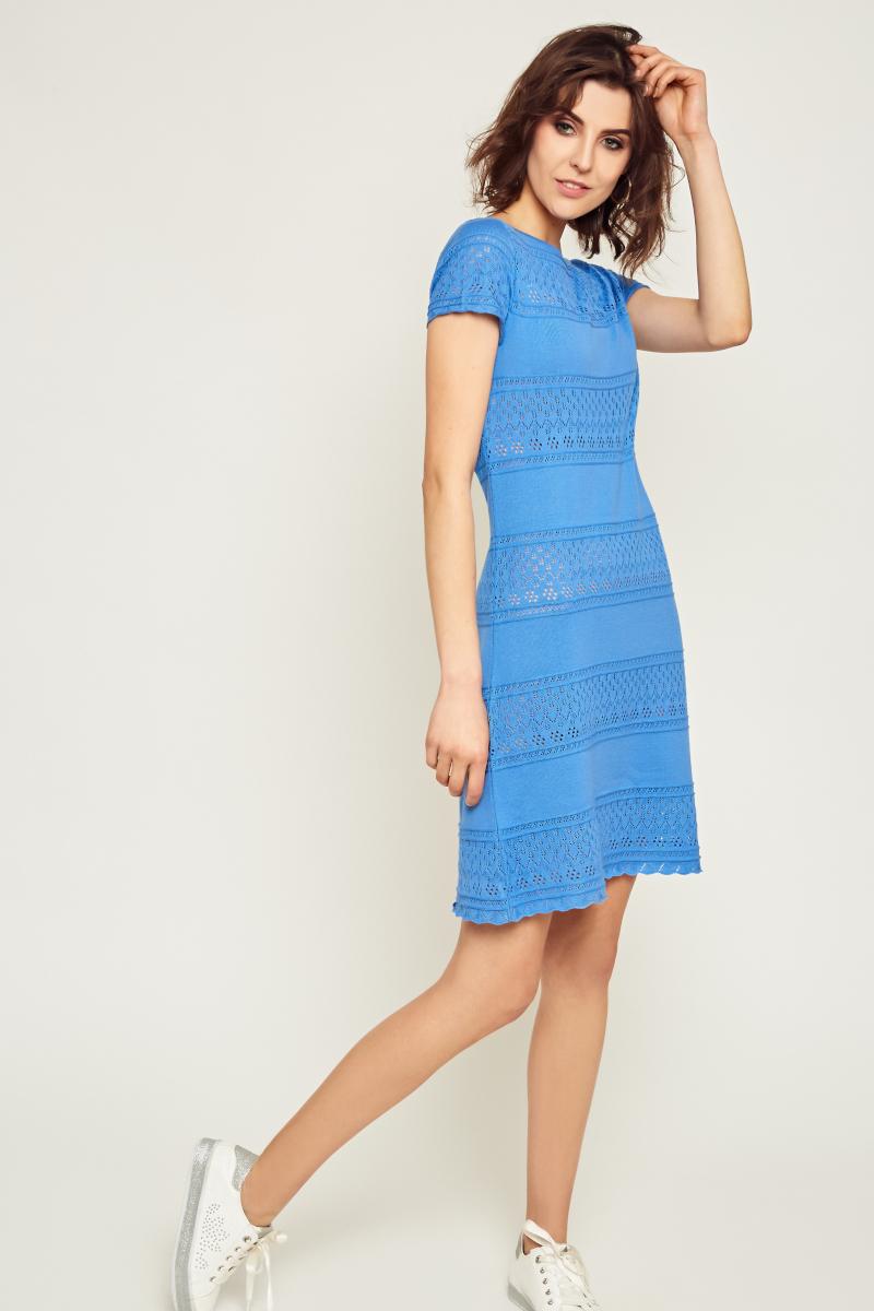 217d5e6874 Sukienka ażurowa z krótkim rękawem – niebieska – Bee   Donkey