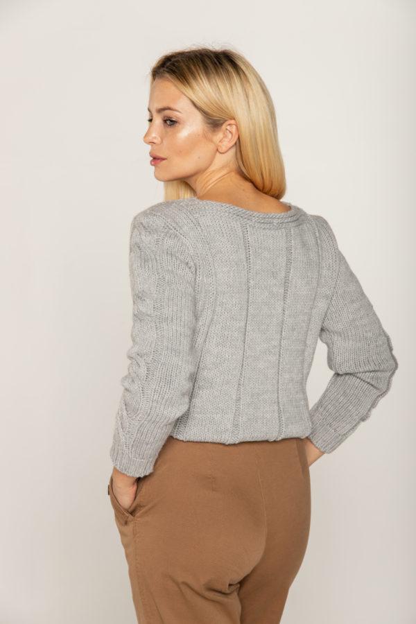 sweter grube warkocze wełniany